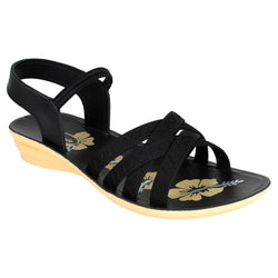 Women's Black Synthetic Sandal