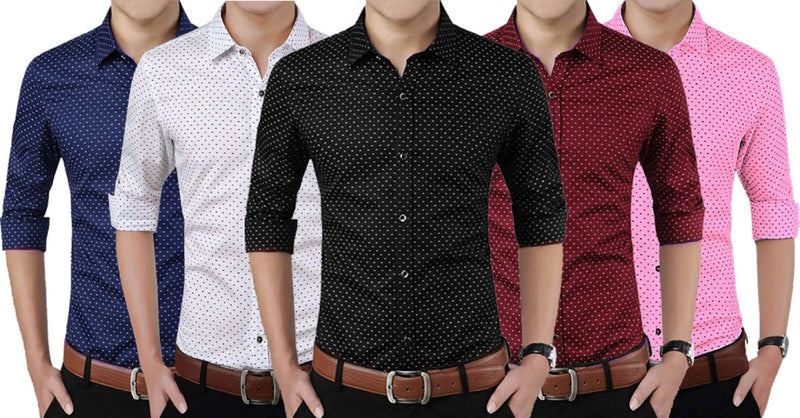 Men's Printed Cotton Blend Full Sleeve Casual Shirt Pack Of 5