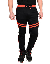 Men's Black Cotton Blend Self Pattern Regular Track Pants