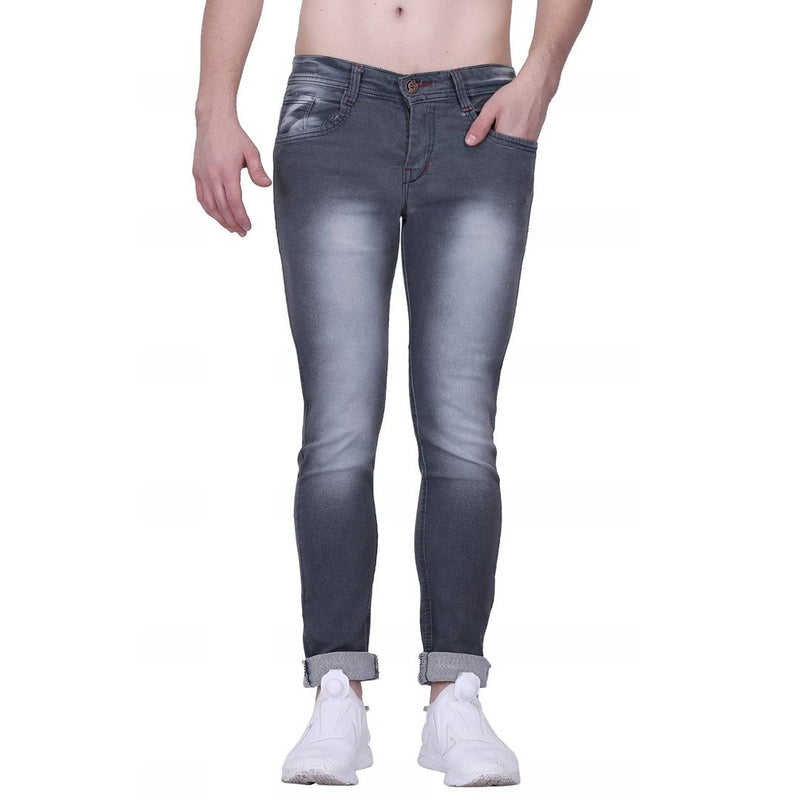 Men's Grey Cotton Blend Faded Slim Fit Jeans