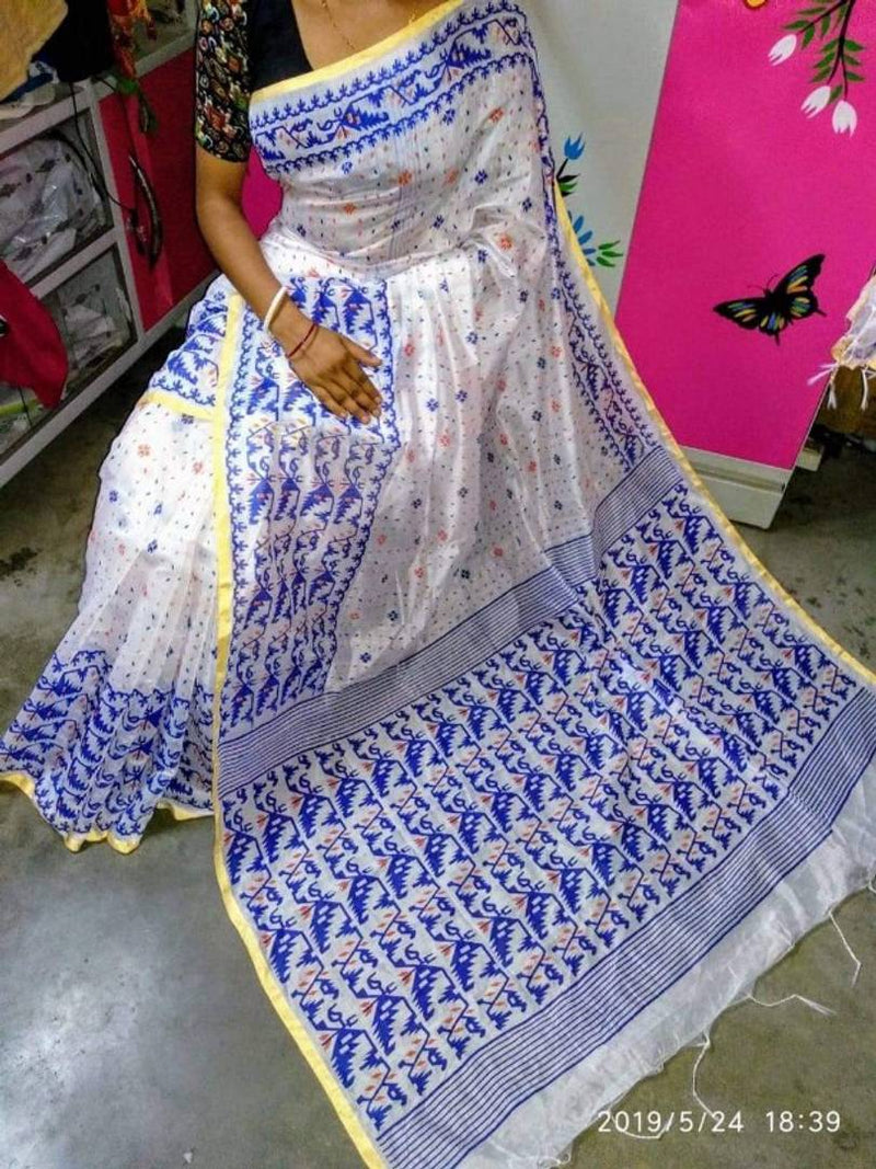 Stylish Handloom Printed Saree with Running Blouse Piece
