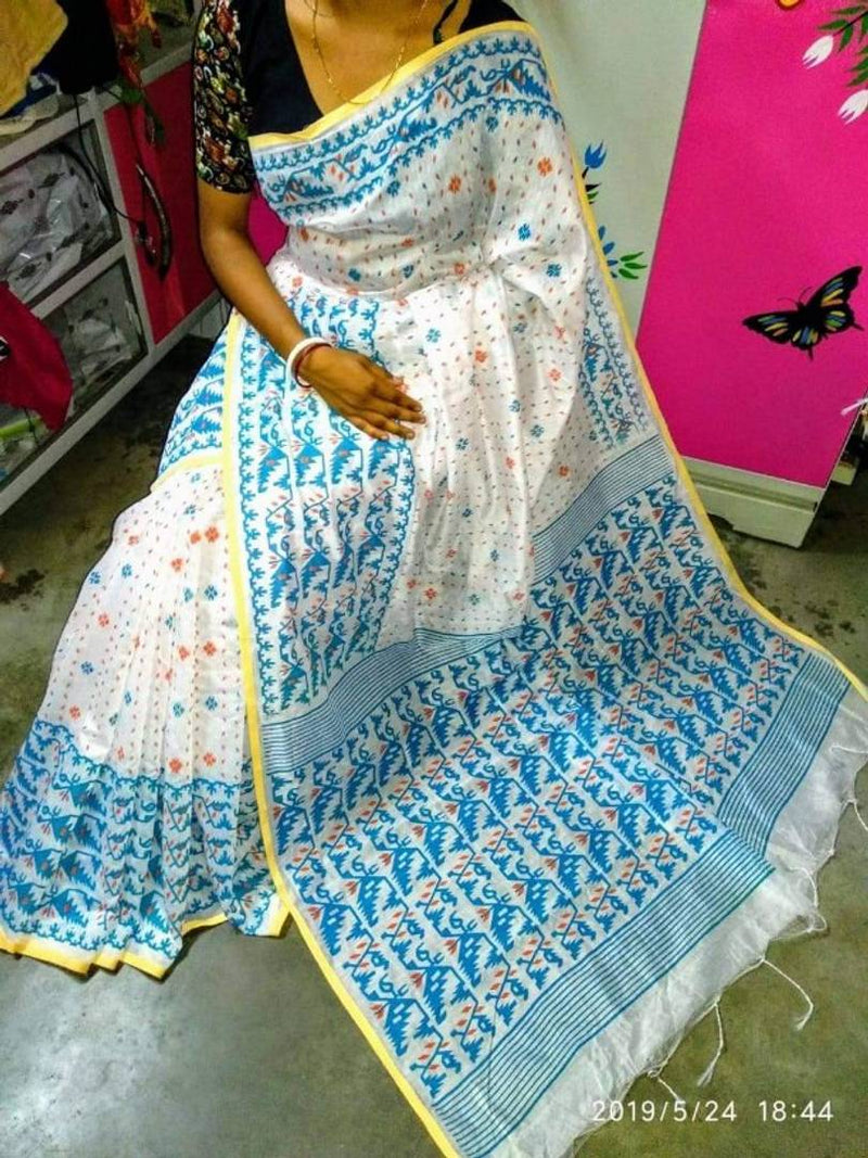 Handloom Printed Saree with Running Blouse
