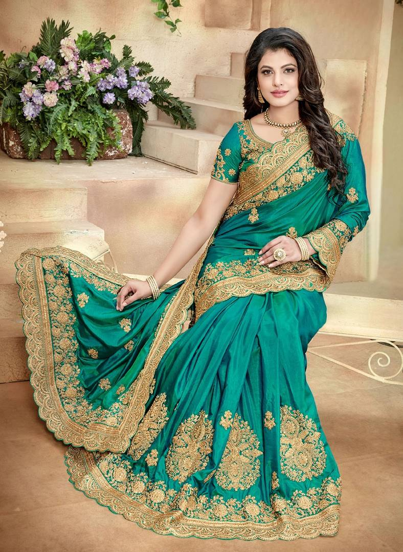 Green Embroidered Poly Silk Saree With Blouse Piece