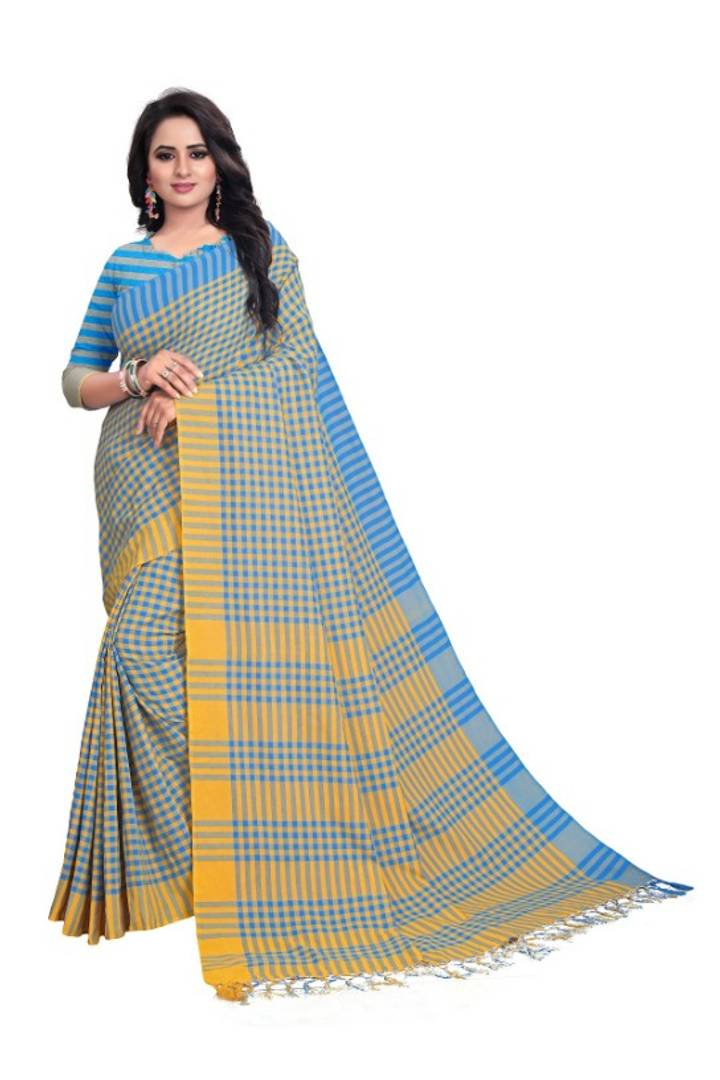 Multicoloured Linen Cotton Saree with Blouse piece