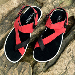 Smart & Trendy Men's Red Velcro Outdoor Sandals