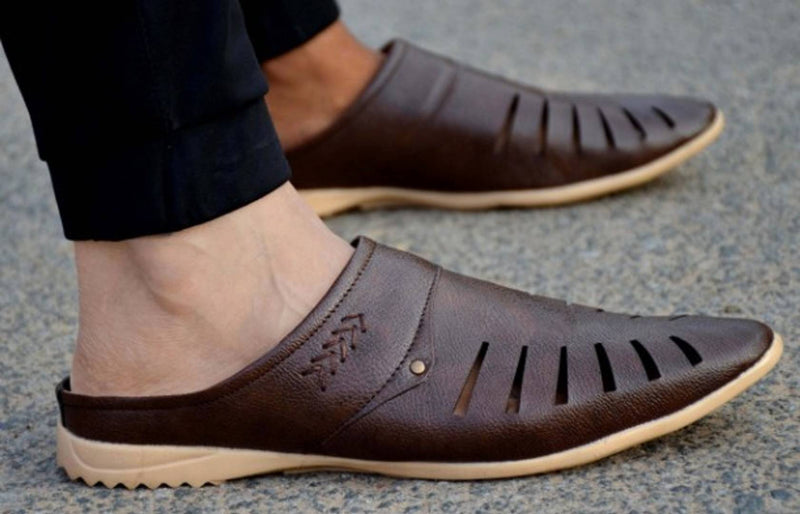 Synthetic Leather Brown Shoe Style Casual Sandals for Men