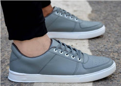 Men's Grey Solid LaceUp Casual Sneakers