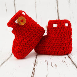 Long Lasting Red Woven Design Wool Kid's Booties