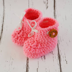 Long Lasting Pink Woven Design Wool Kid's Booties