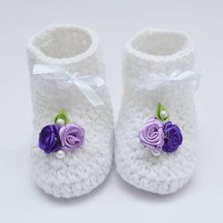 Long Lasting White Woven Design Wool Kid's Booties