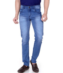 Men's Blue Denim Faded Slim Fit Low-Rise Jeans