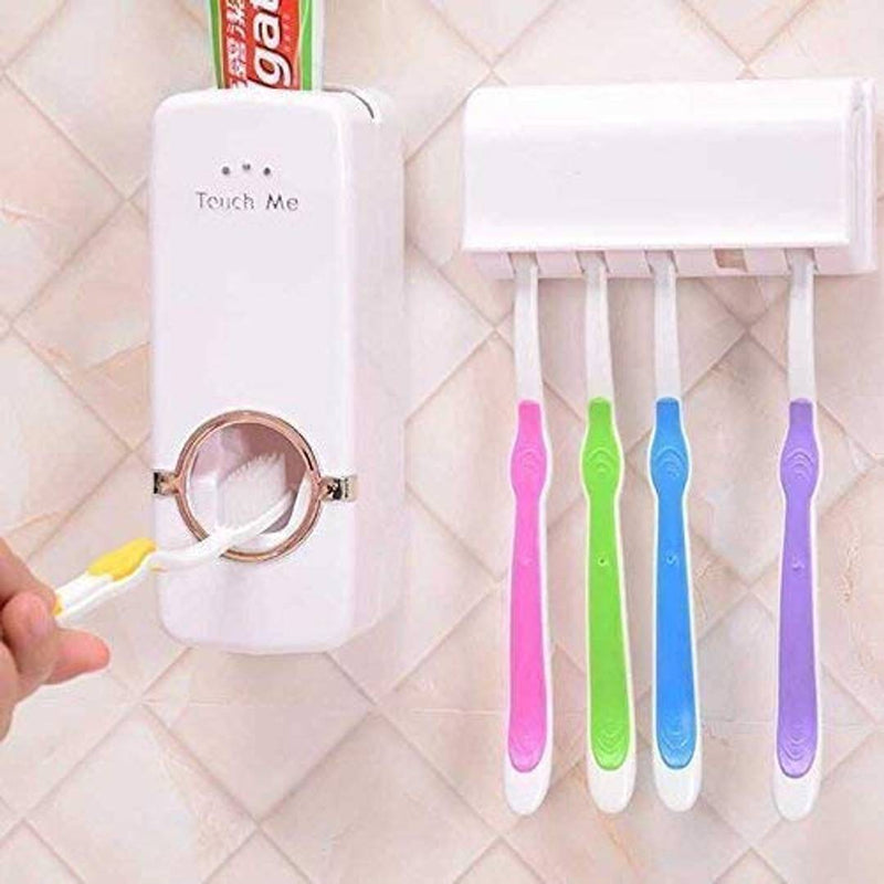 U.S.Traders Automatic Toothpaste Dispenser with Wall Mount Toothbrush Holder