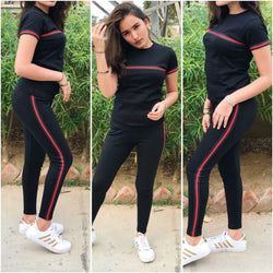 Fashionable Active Wear Cotton Lycra Top & Bottom Set