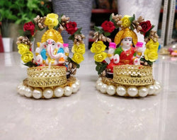 Diwali Beautifully designed Handmade Floral Lakshmi Ganesha T-Lights.