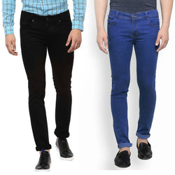 Men's Multicoloured Denim Solid Slim Fit Jeans (Pack Of 2)