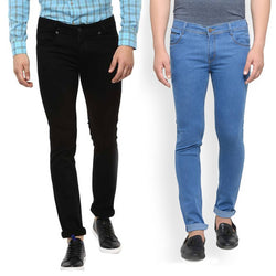 Men's Multicoloured Denim Slim Fit  Mid-Rise Jeans (Pack of 2)