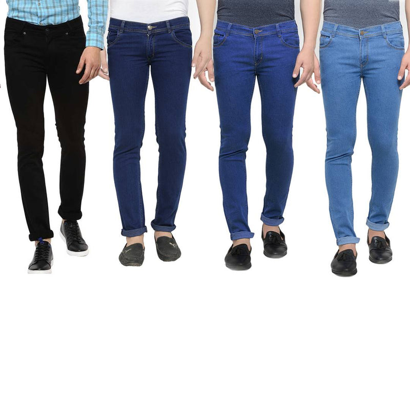 Men's Multicoloured Denim Solid Slim Fit Jeans (Pack of 4)