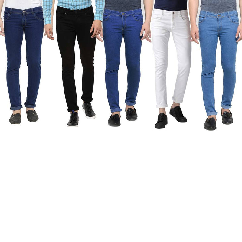 Men's Multicoloured Denim Solid Slim Fit Jeans (Pack Of 5)