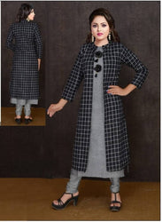 Stylish Black Rayon Cotton Straight Women's Kurti with Shrug