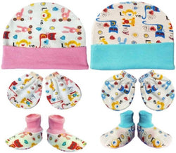 Newborn Set of Cap, Gloves and Socks Mitten Set for Babies Pack of 2