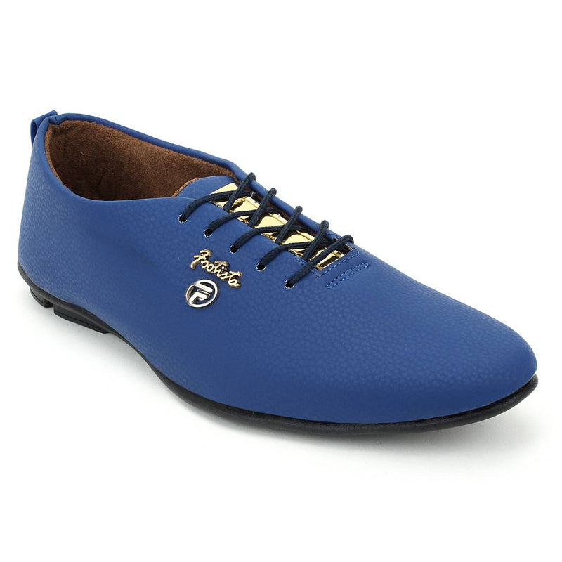 Stylish Blue Synthetic Leather Solid Men's Sneakers