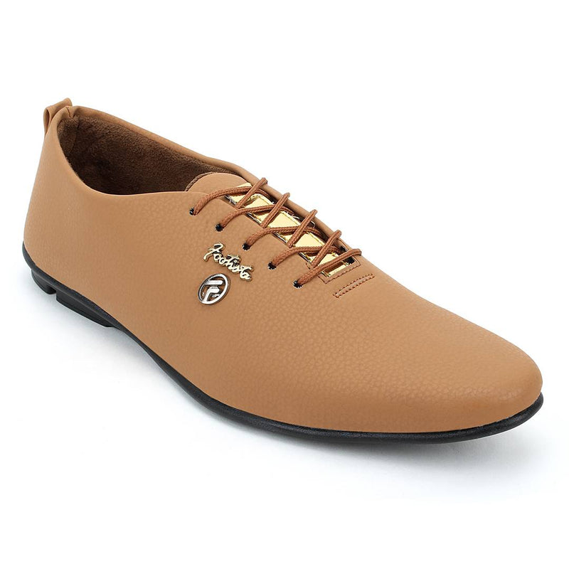 Stylish Peach Synthetic Leather Solid Men's Sneakers
