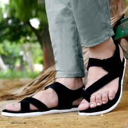 Smart & Trendy Black Suede Outdoor Sandals for Men