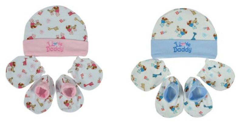 New Born Baby Caps, Mittens & Booties Set (0-3 Months) MULTICOLOR - Pack of 2
