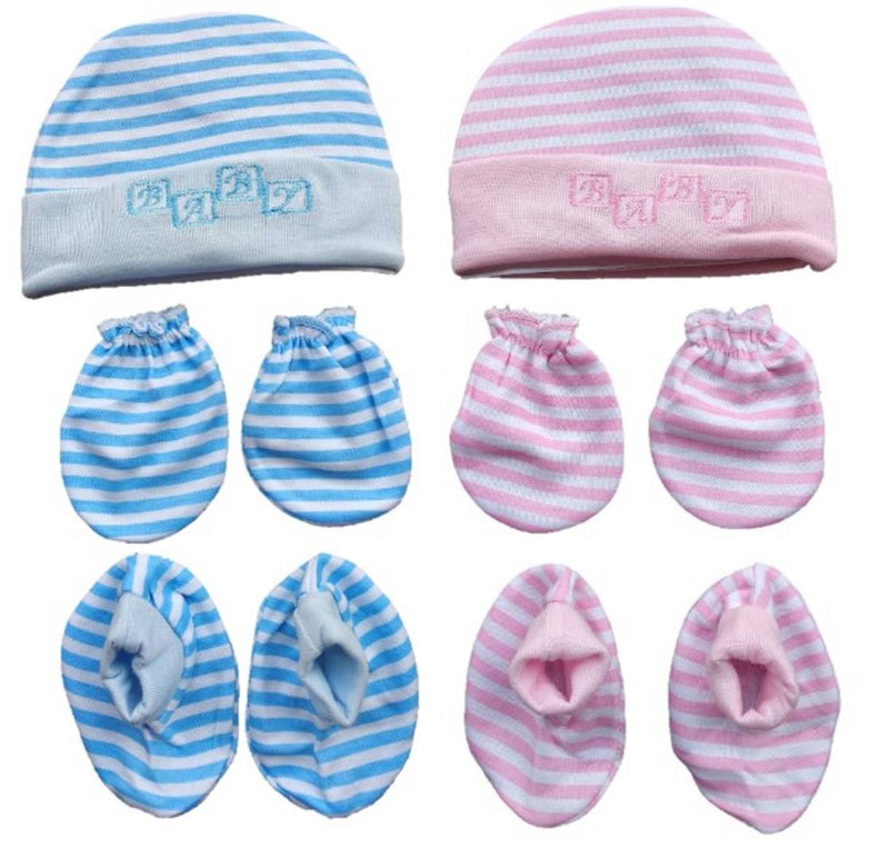 Multicolor New Born Baby Cotton Booties, Caps, Mittens Combo Set - Pack of 2 (Print & Color May Vary)