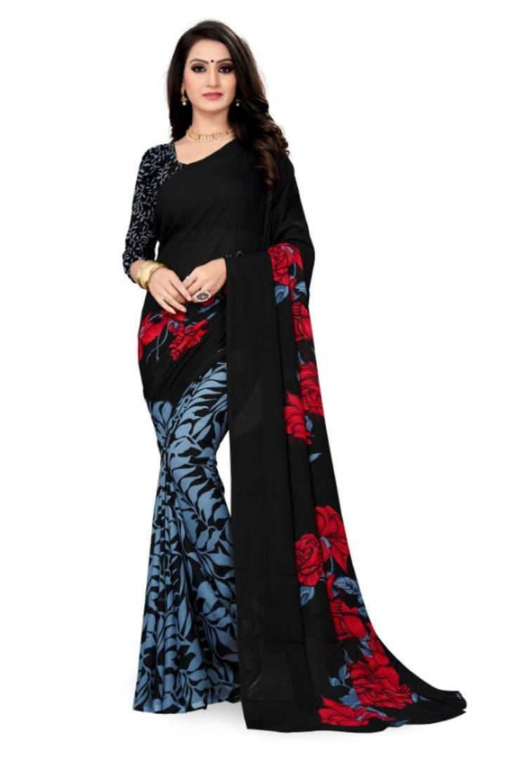 Women's Faux Georgette Printed Saree With Blouse Piece
