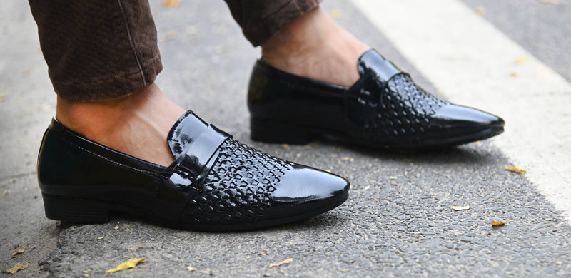 Black Patent Party Wear Designer Formal Shoes For Men