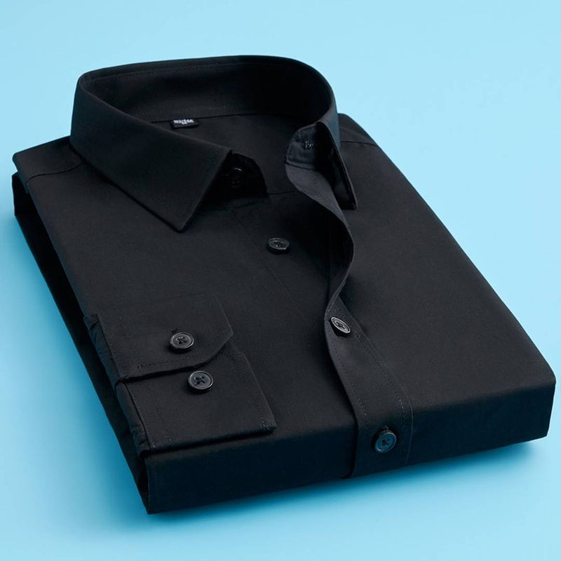 Men's Black Cotton Blend Solid Long Sleeves Regular Fit Formal Shirt