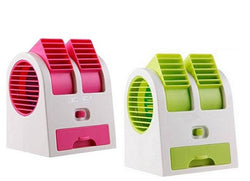 Dual Bladeless Mini Fan Air Conditioner Water Air Cooler (Assorted Color) Pack Of 2