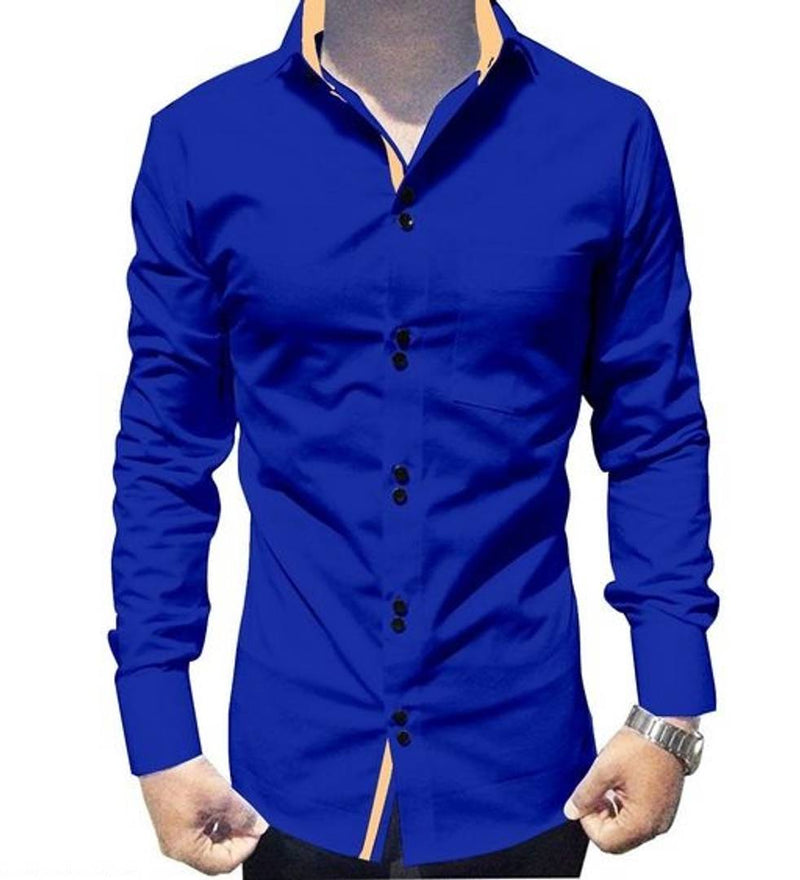 Men's Blue Cotton Long Sleeves Solid Slim Fit Casual Shirt