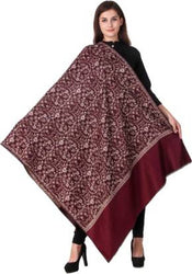 KASHMIRI SHAWL Wool Embroidered Women's mehroon Shawl