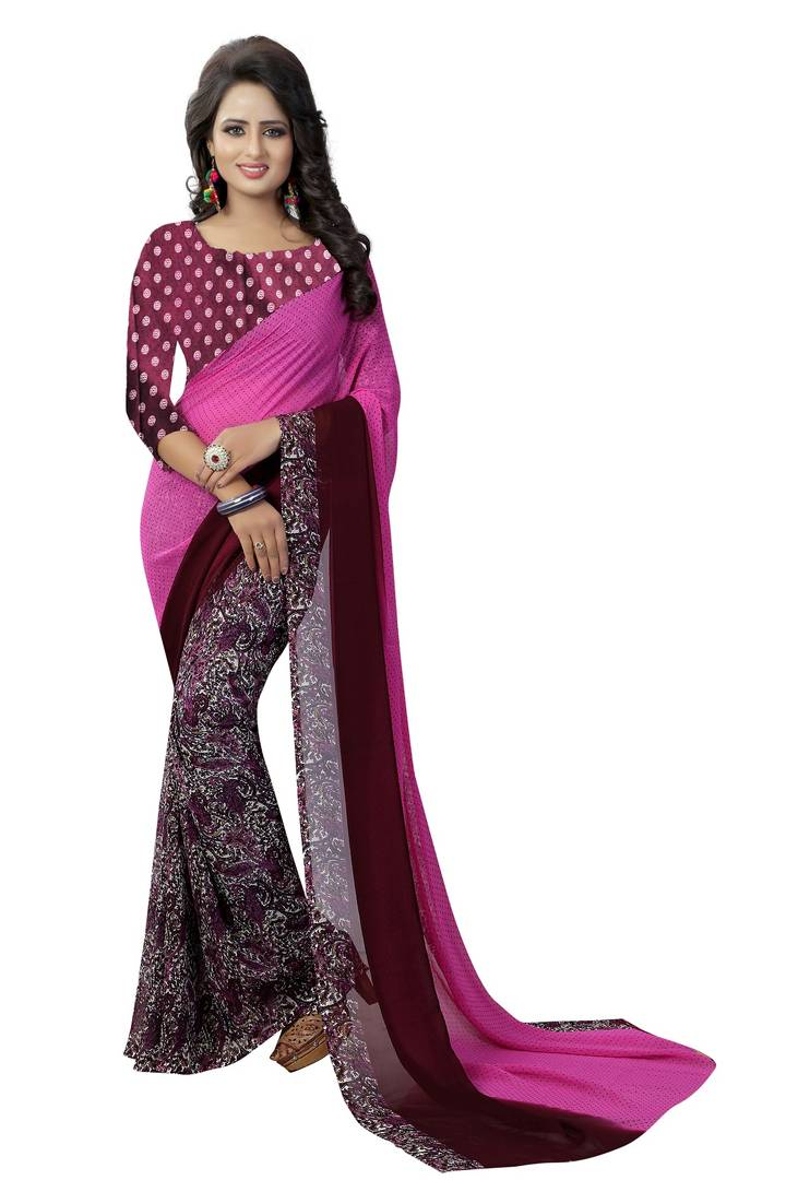 Elegant Purple Printed Georgette Saree with Blouse piece