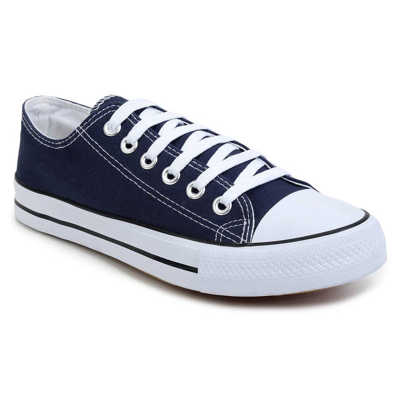 Men Navy Blue Lace Up Canvas Ultra Light Sneakers
