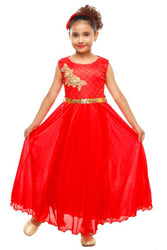 RNR FASHION Girls Red Colored Sleeveless Party wear Full Length Gown Frock(RNR056)
