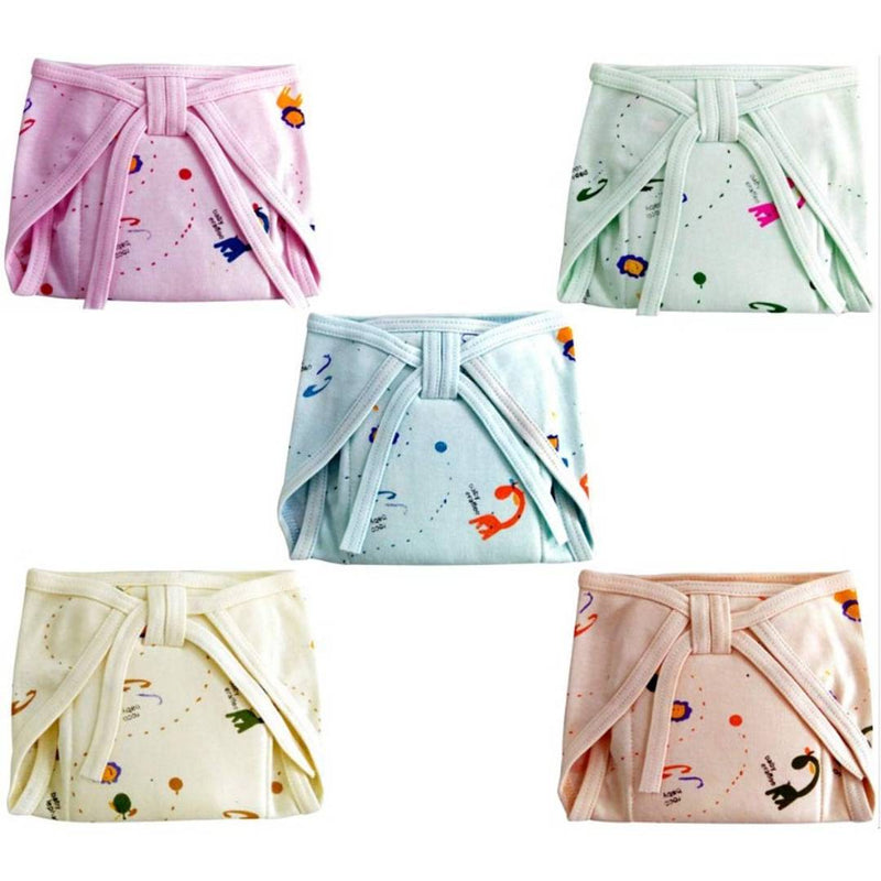 Baby Boy and Baby Girl Multicolor Random Print Cotton Cushioned Nappies Combo (Pack of 5) (0-3 months)