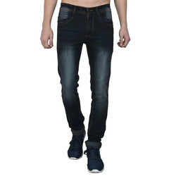 Men's Grey Denim Faded Slim Fit Jeans