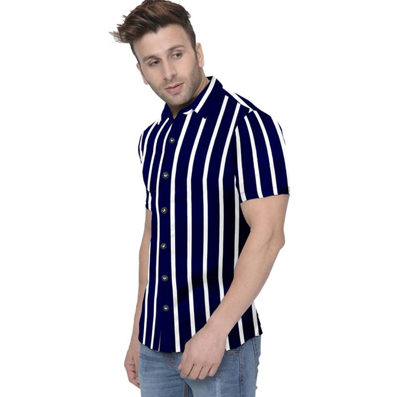 Men's Multicoloured Cotton Striped Short Sleeves Slim Fit Casual Shirt