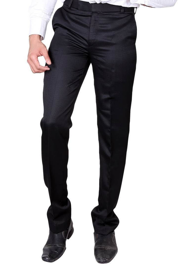 Men's Black Polyester Blend Solid Mid-Rise Formal Trouser