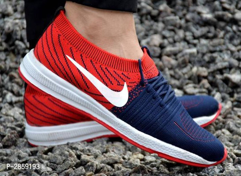 Ultra Lite Red Navy Breathable Sports Shoes For Men