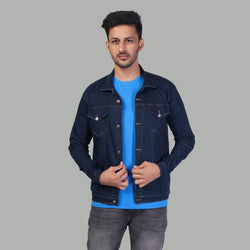 Men's Blue Solid  Long Sleeves Denim Jacket