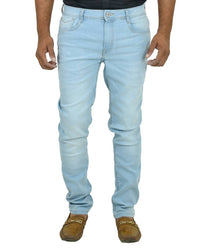 Men's Blue Denim Solid Slim Fit Mid-Rise Jeans