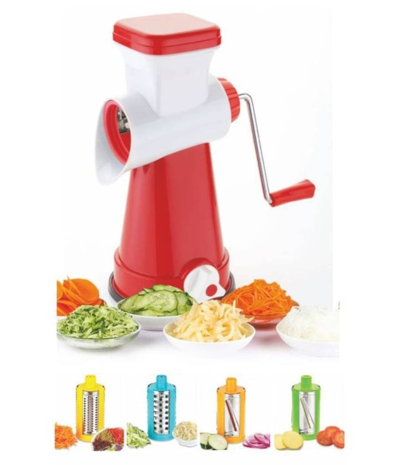Analog Kitchenware 4 in 1 rotary vegetables and fruits grater and slicer red