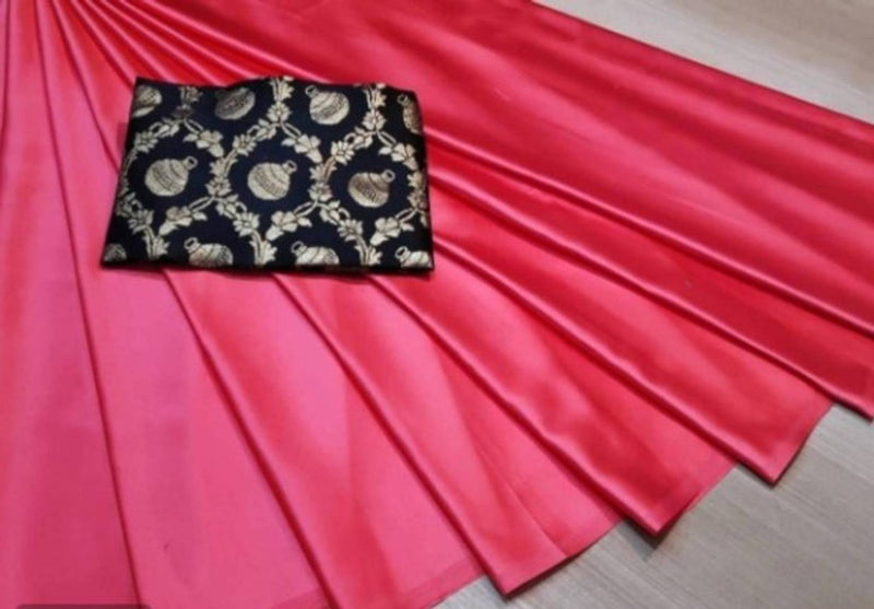 Stylish Satin Saree with Blouse Piece