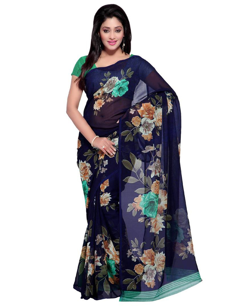 Multicoloured Printed Poly Georgette Saree with Blouse piece