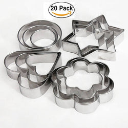 Stainless Steel Cookie Biscuit Cutter Pastry Maker with 4 Shapes, 20 Pieces