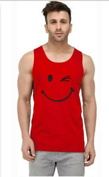 Men's Red Cotton Printed Slim Fit Activewear Tees